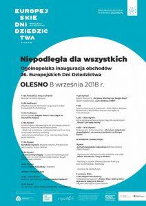 Serdecznie zapraszamy mieszkańców i gości do udziału w ogólnopolskiej inauguracji 26. edycji Europejskich Europejskie Dni Dziedzictwa, która odbędzie się 8 września w Oleśnie.