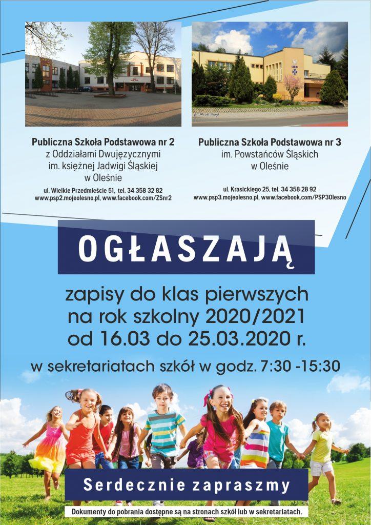 Zapisy do klas pierwszych na rok szkolny 2020/2021