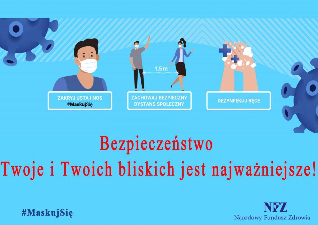Plakat dotyczący konieczności stosowania się do zaleceń epidemicznych