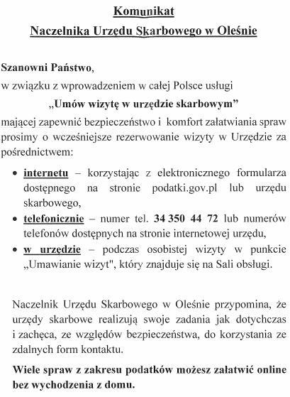 Komunikat Naczelnika Urzędu Skarbowego w Oleśnie