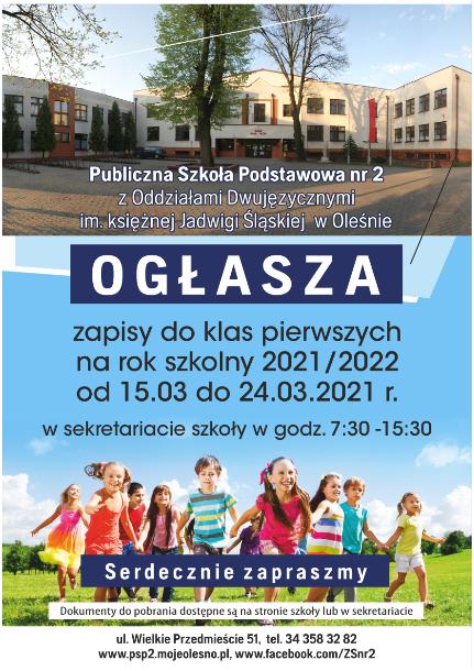 Zapisy do klas pierwszych na rok szkolny 2021/22